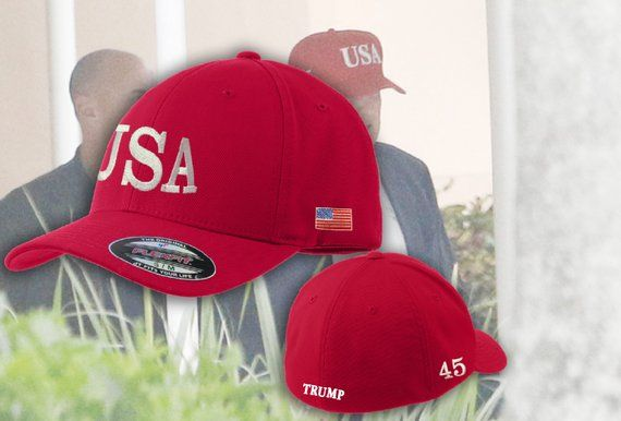 249f8b224a USA Hats   Embroidered FlexFit Trump USA Hat   Trump 45 President FlexFit  Hat   Trump