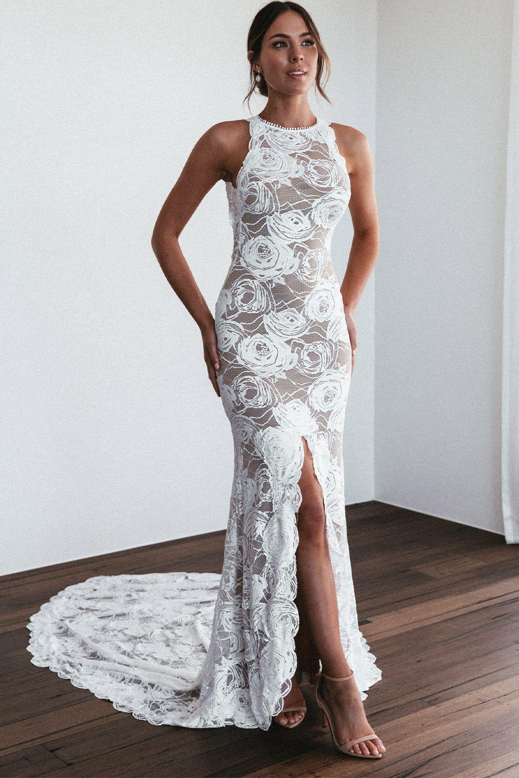 rose wedding dress lace