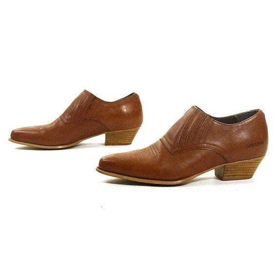 51071b2922b2a Brown Leather Ankle Boots Vintage 90s PeeWee Booties Shortie Western ...