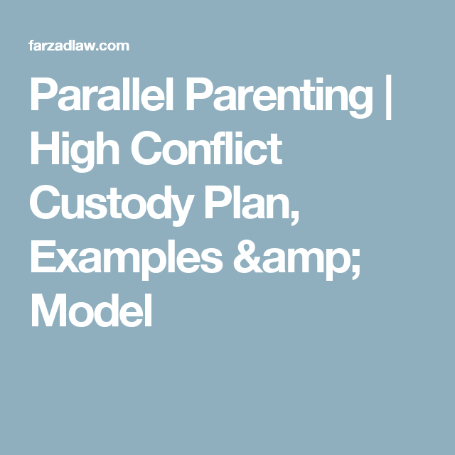 Parallel Parenting  High Conflict Custody Plan Examples  Model