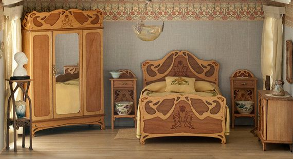 Art Nouveau wardrobe for bedroom furniture, scale 112