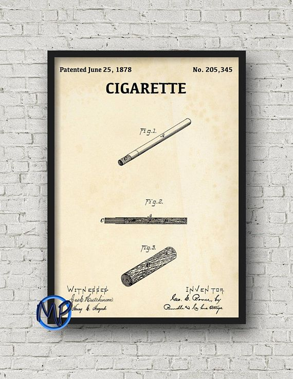 Cigarette patent print 1878 vintage smoking poster blueprint art cigarette patent print 1878 vintage smoking poster blueprint art smoke shop wall art malvernweather Gallery