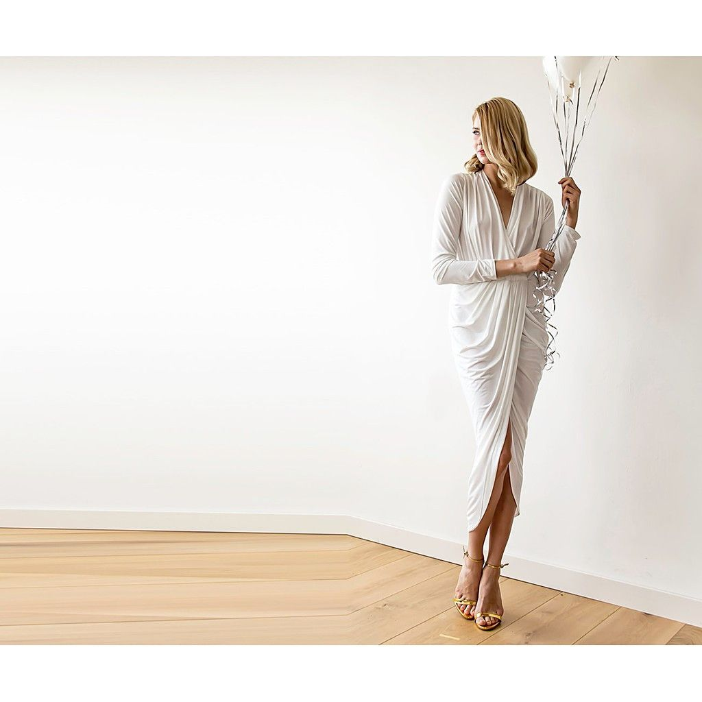 Ivory long sleeve tulip wrap wedding maxi dress tulip