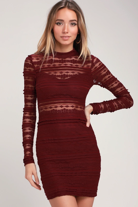 Best actress burgundy lace bodycon midi dress