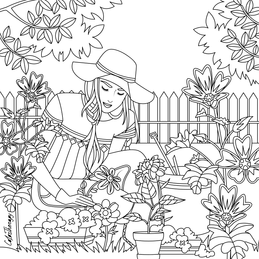 My garden.... Coloring Page | Adult coloring pages, Garden ...