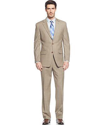 Michael Michael Kors Suit Tan Sharkskin Plaid