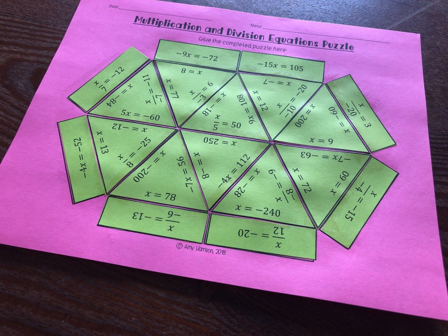 Multiplication Amp Division Equations Puzzle