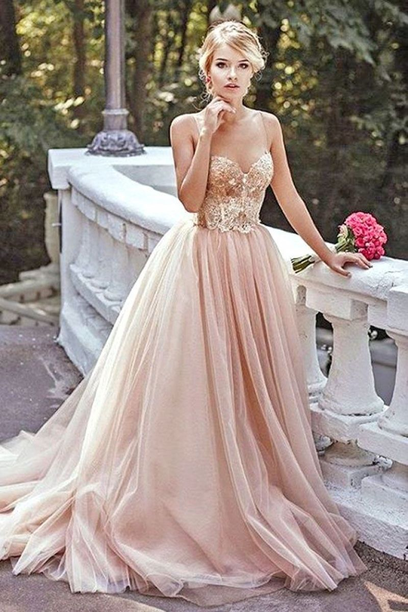 Blush Prom Dress Gold Dresses Gown Wedding Pink