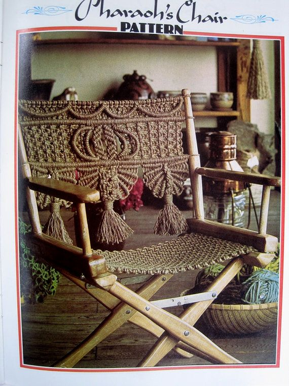 Macrame Directors Chair Pattern   Macrame Furniture / Curtain DIY Craft Book