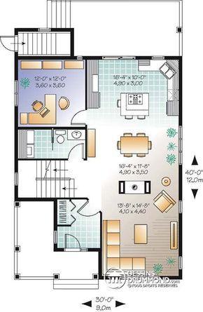Détail du plan de Maison unifamiliale W2769-V1 house Pinterest - image de plan de maison