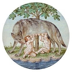 """Georg Pencz (German 1500-1550); Romulus and Remus (1546); Brown ink over black chalk with watercolor and gouache on paper; diam: 11"""" (27.94 cm); Framed: 21"""" x 17"""" x 1"""" (53.34 x 43.18 x 2.54 cm); The Nelson-Atkins Museum of Art, Kansas City"""