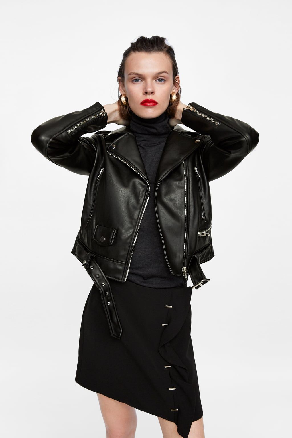 Faux Leather Biker Jacket With Images Leather Shirt Dress