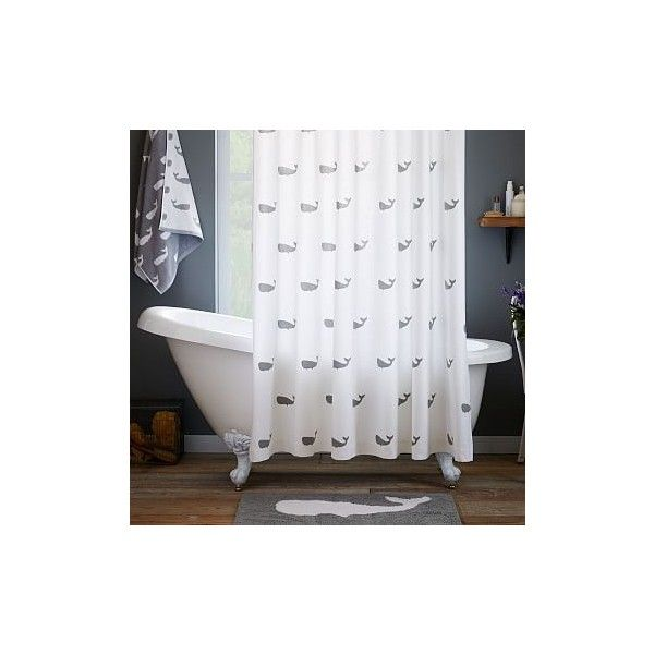 West Elm Whale Shower Curtain, Feather Gray, West Elm