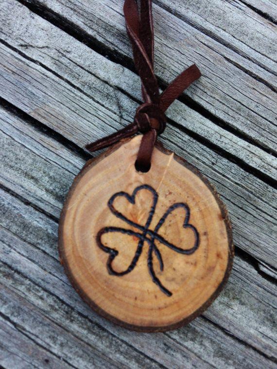Wood Burned Shamrock Heart Keychain by downtoearthcraft on Etsy