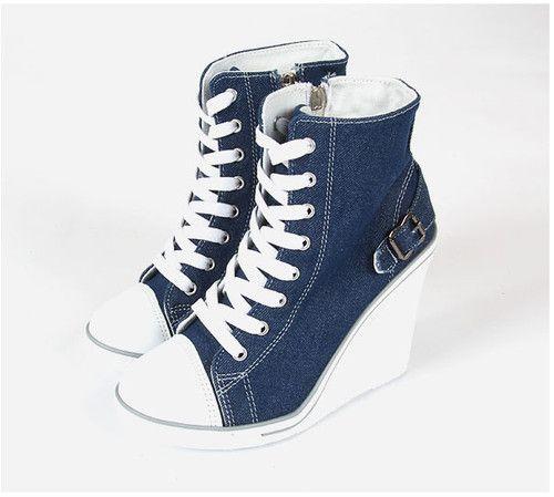 Womens Wedge Heel Sneakers Girls High Heel Comfortable Shoes US 5.5-8
