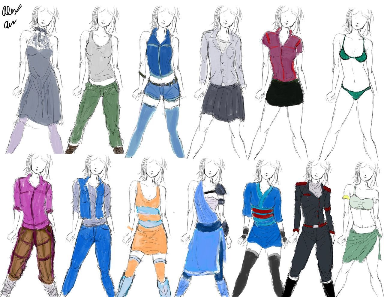 anime clothing clothing designs practice 1 by Goldencard