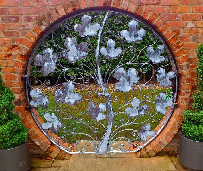 small metal garden gate Garden art and sculpture Rose Arches