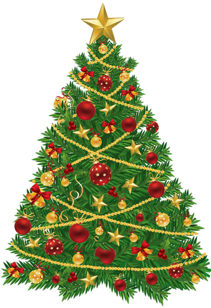 Large Transparent Christmas Tree With Red And Gold Ornaments Clipart Christmas Tree Clipart Christmas Art Christmas Illustration