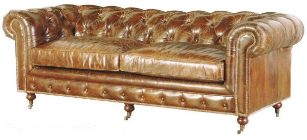 A Vintage Brown Leather Chesterfield Sofa Featuring Castors. Our Aged  Vintage Leather Chesterfield 3 Seater Sofa Would Suit A Period Style Room.
