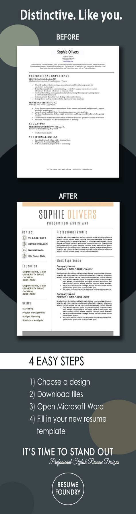 Stylish and Modern Resume Template, 1-3 Page Resume + Cover Letter + ...