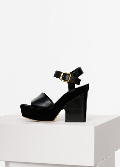 Céline Suede Platform Wedge Sandals