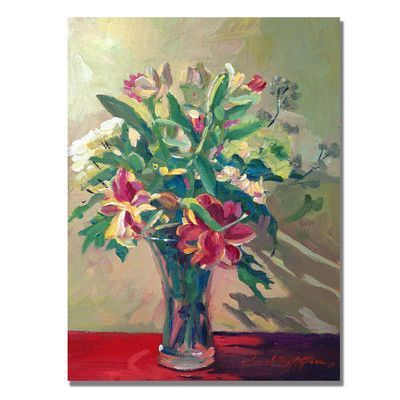 """Trademark Art """"A Glass Full of Spring"""" by David Lloyd Glover Framed Painting Print on Wrapped Canvas Size: 47'' H x 35'' W x 2'' D"""