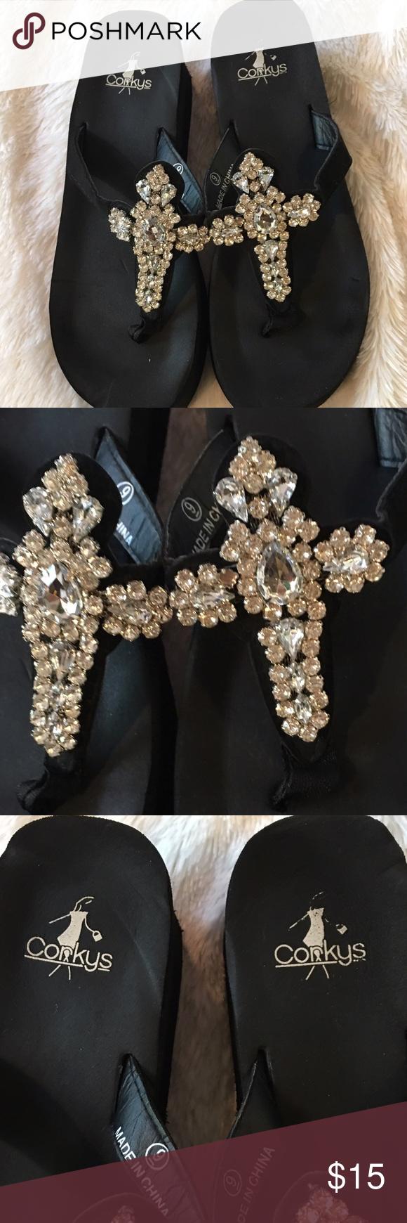 46b77eddb Corkys black rhinestone cross wedges sz 9 Corkys black rhinestone cross  wedges size 9- worn only a couple times- great condition! Corkys Shoes  Sandals