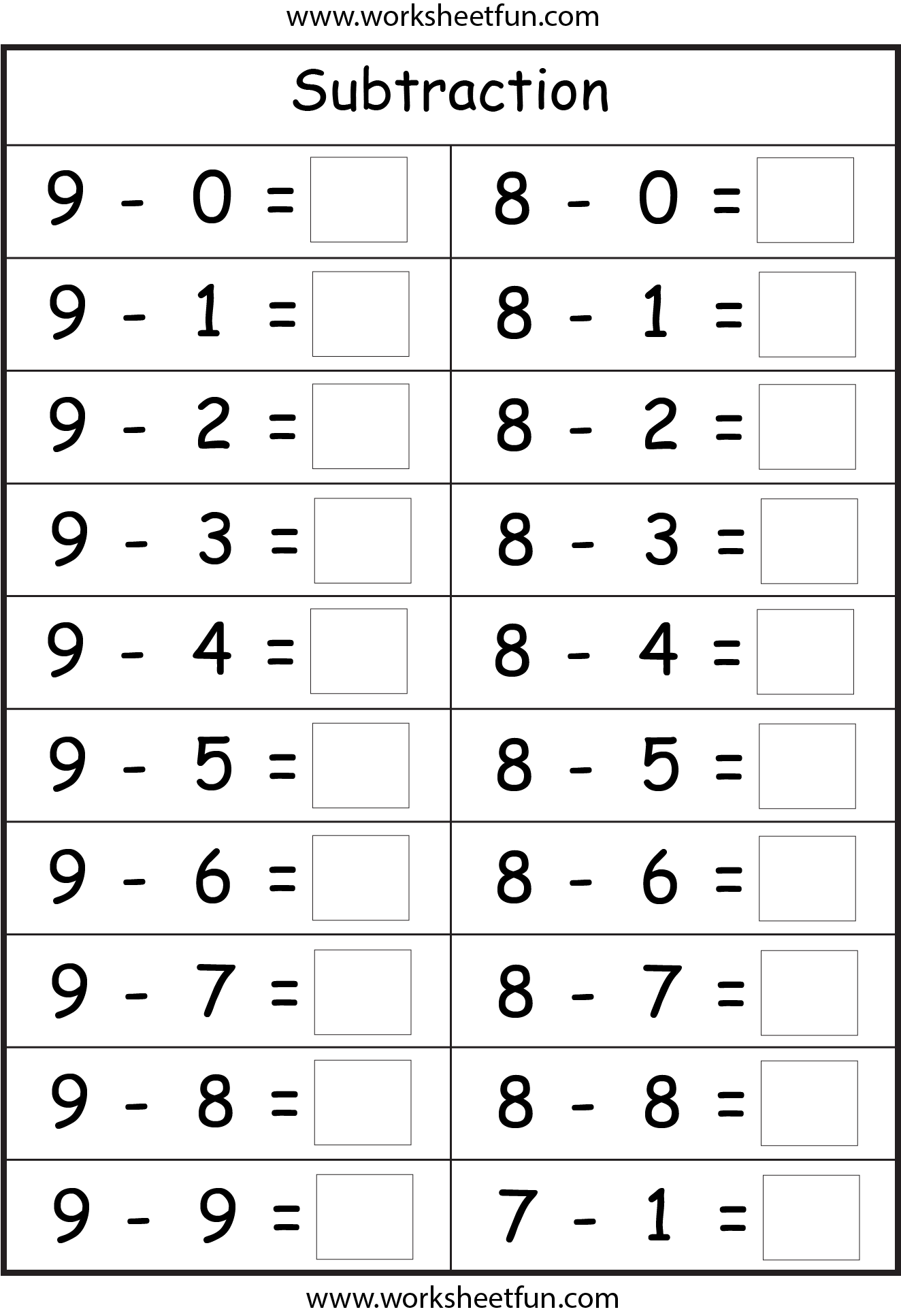 Subtraction 4 Worksheets
