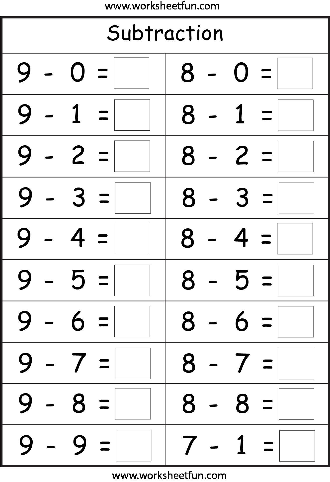 Subtraction - 4 Worksheets | Printable Worksheets ...