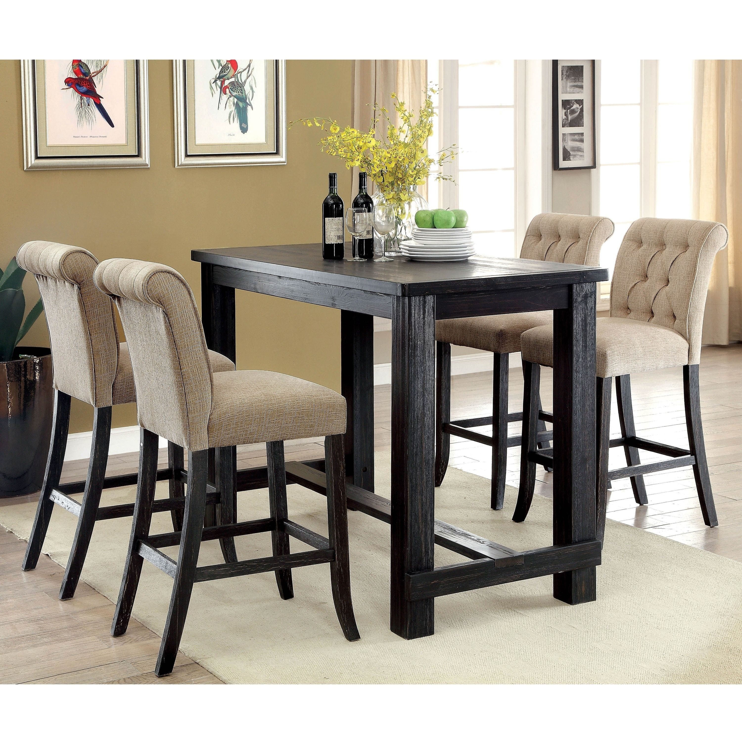 Foster Rustic Antique Black 5 Piece Bar Table Set By Foa