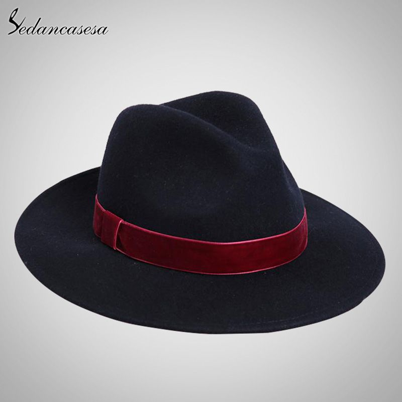 Spring England Style Vintage Woman Mens Fedora Hat Felt Caps With Red Band  Wholesale Black Women Felt Hats Who like it    shop  beauty  Woman s  fashion ... 111574c5a186