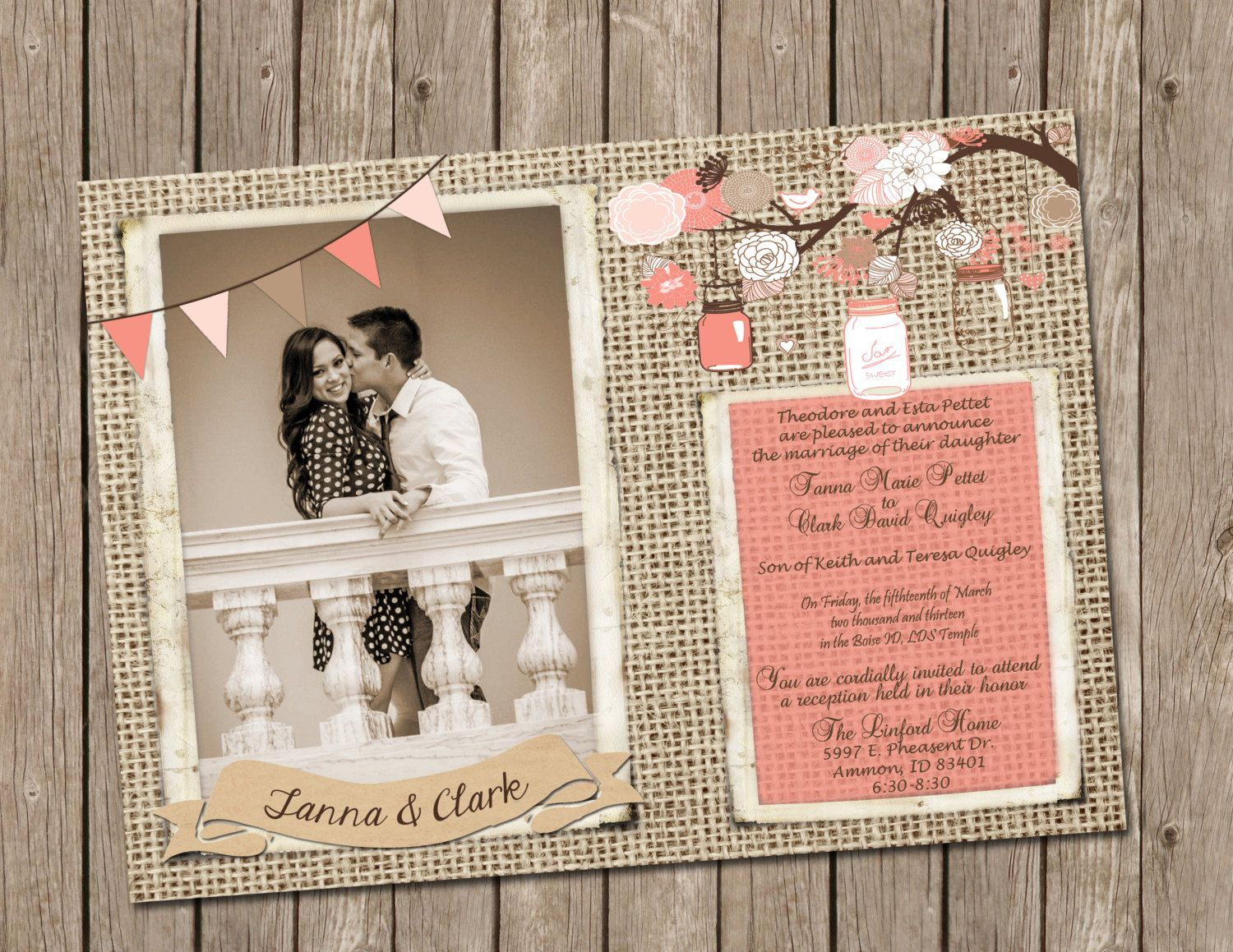 Coral Rustic Wedding Invitation burlap and by MissBlissInvitations