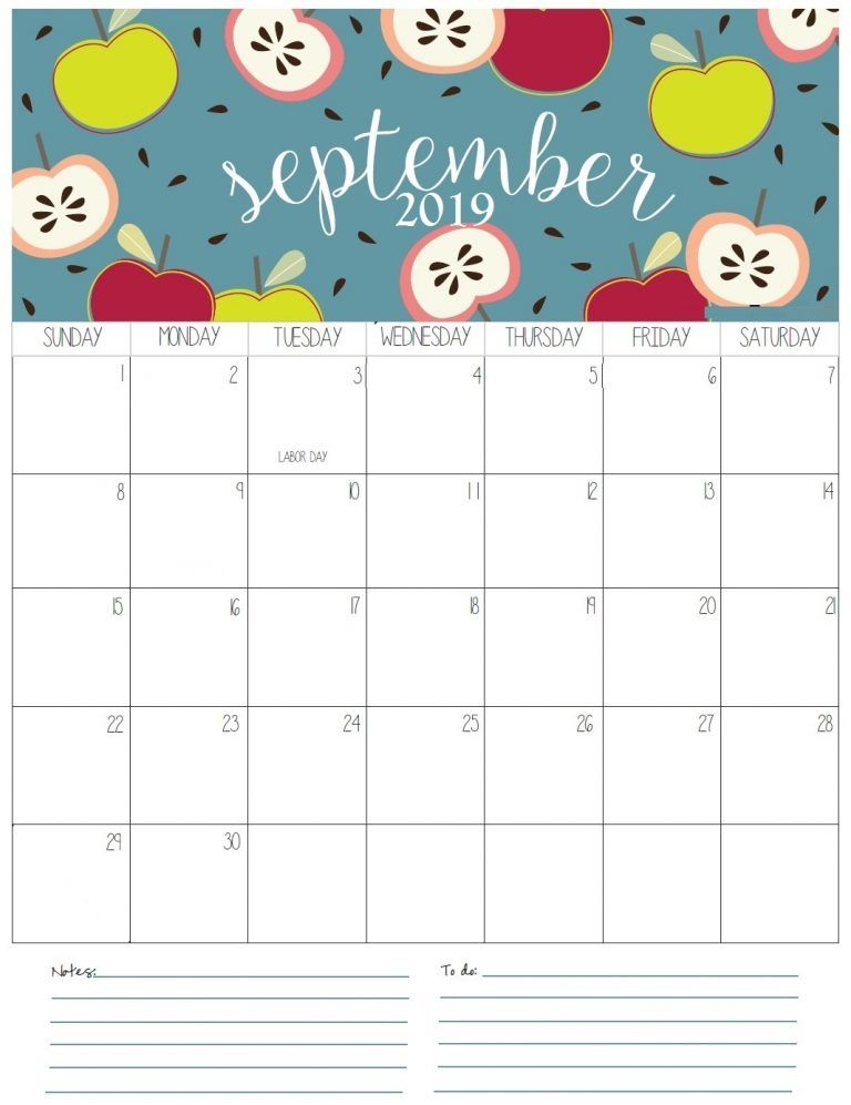 September Monthly Calendar 2019 DIY and crafts preschool