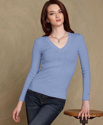 64b532ea Tommy Hilfiger Sweater, Jenny Long-Sleeve Cable-Knit V-Neck - Womens Tommy  Hilfiger Sweaters - Macy's