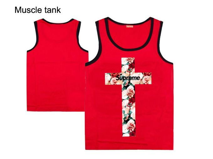 Supreme Tank Top for Guys Mens Floral Cross Tee Shirts Clothing Red