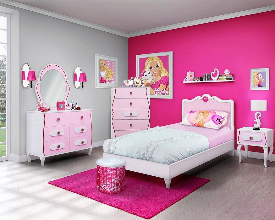pink bedroom furniture. Barbie 4 Piece Bedroom in a Box Furniture Set  Twin Bed Picture Perfect Girls SocialCafe Magazine Kids