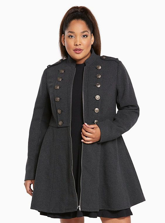 Plus Size Long Military Coat, CHARCOAL HEATHER | Clothes & Jewelry ...