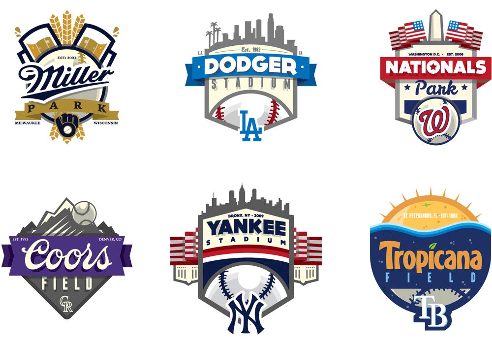 Brand New Mlb Ballparks Unified Sports Logo Design Mlb Logos Logos