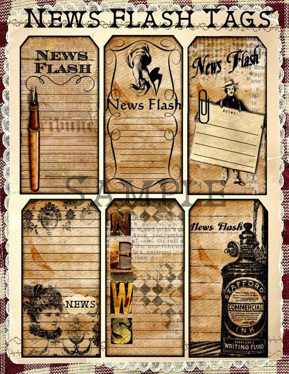 Distressed News Flash Vintage Journaling Tags UPrint Digital Printables  INSTANT DOWNLOAD is part of Junk journal - This Tag Set features Collages of Vintage Newspaper and Writing Ephemera with Journaling Lines for you to share News Tidbits  Great tucked into someone lunch bag with Important Reminders  The Tags would be great additions for a Paper Bag Album, handmade Greeting Card,or any Altered Art or Scrapbook