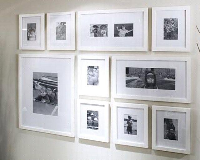 phto arrangement white frames - Google Search | Lake house ...