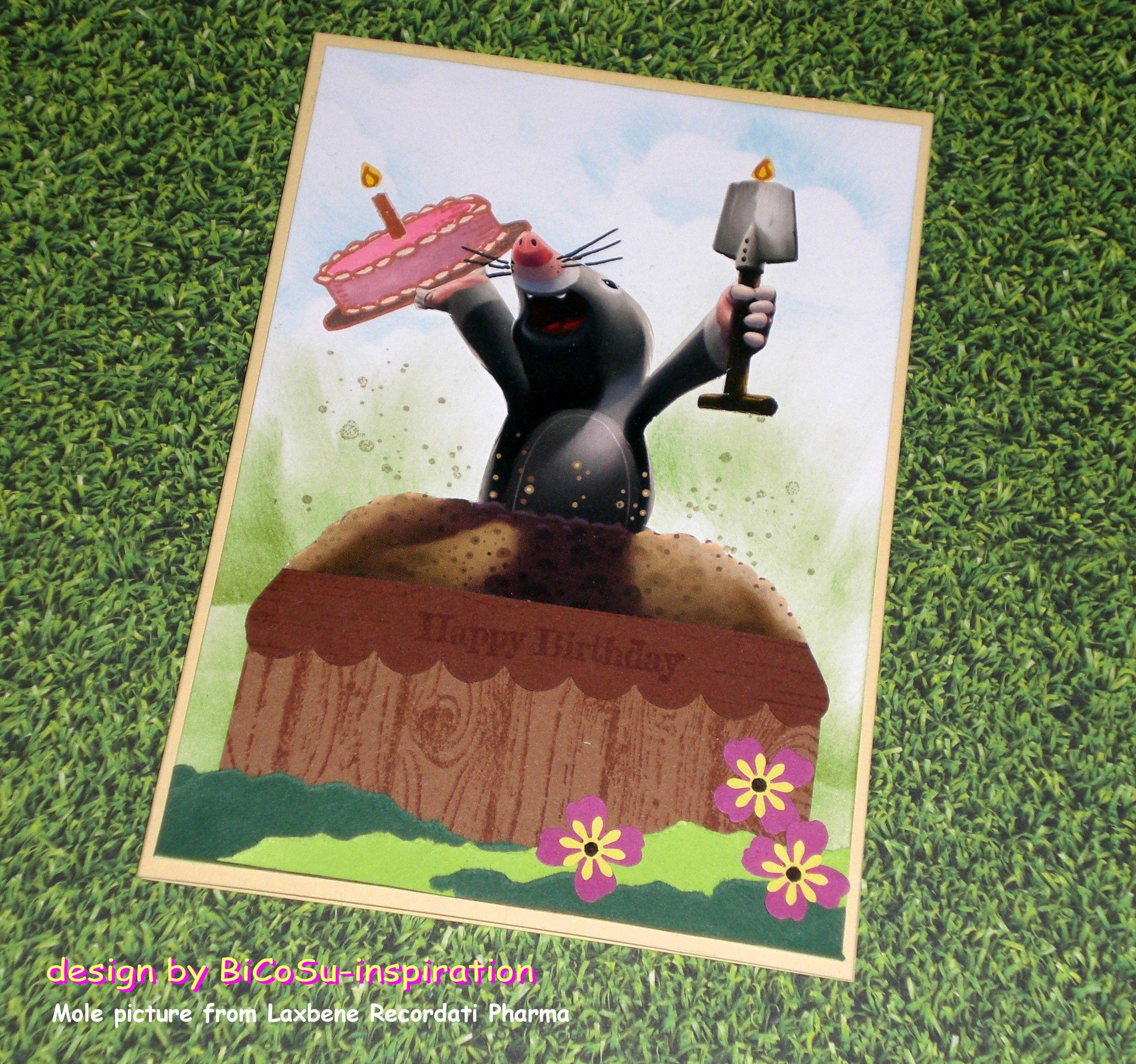 Geburtstagskarte aus alter Werbung - Maulwurf von Laxbene Recordati ...