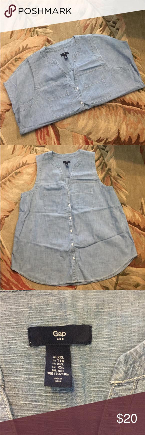 Gap Denim tank shirt GAP denim tank top jeanshirt. NWOT. perfect condition. Never worn. Super cute with white shorts or jean! GAP Tops Tank Tops