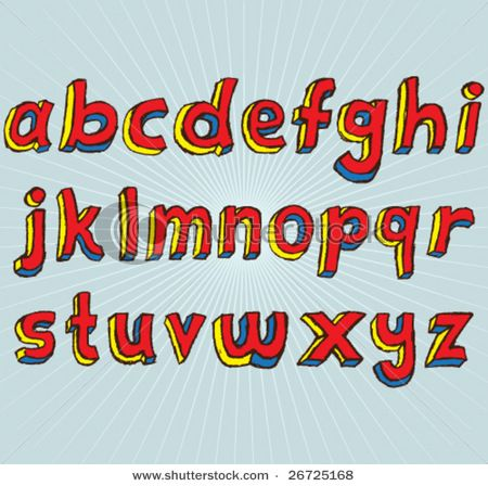 Hand Drawn Lowercase Alphabet Font Letters Ideato Use This For The Displays In My Retail Project Beacuse It Has A Comic Book Feel