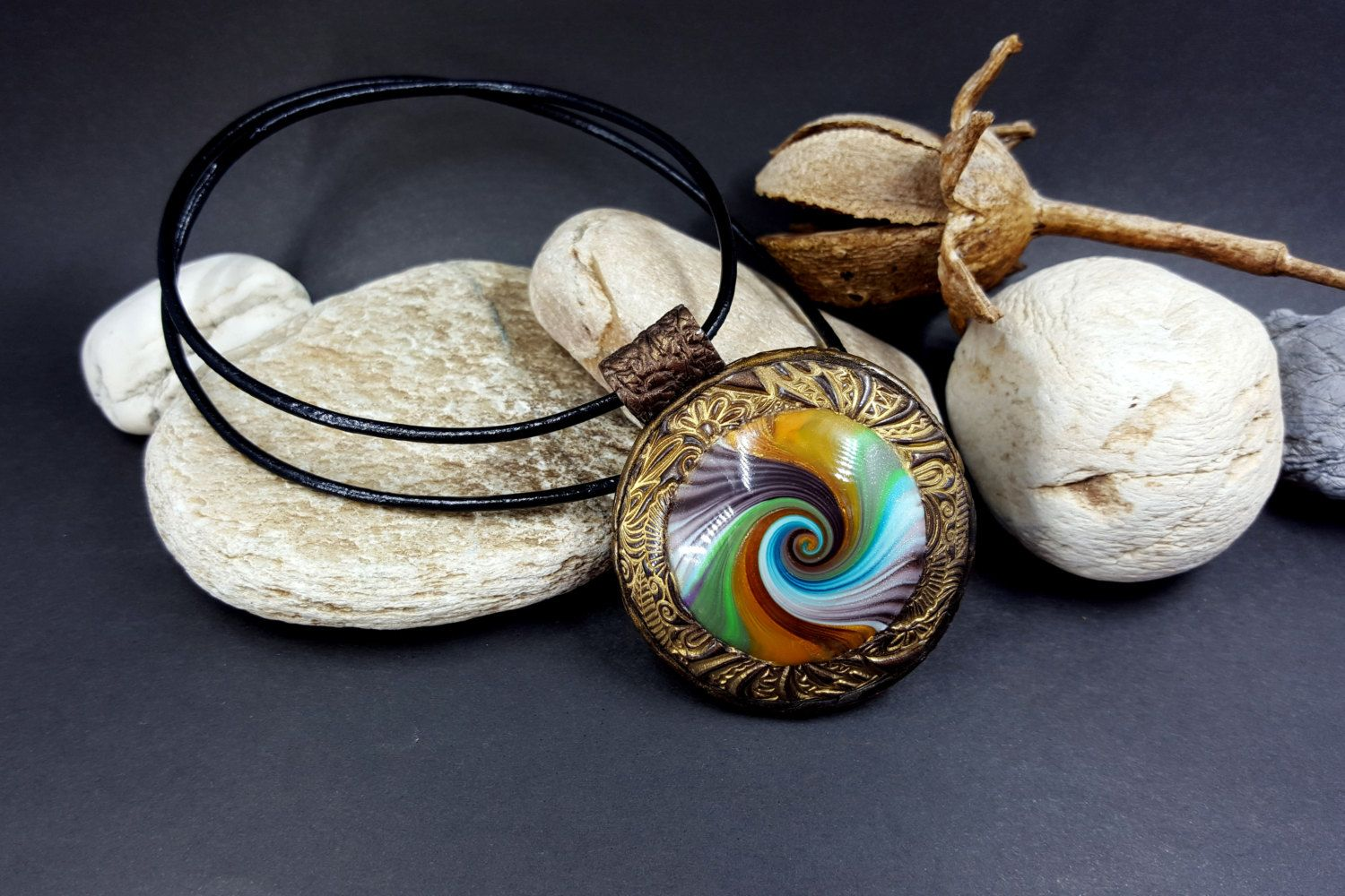 Polymer Clay Personalized Pendant with Photo Frame «Riches Tints» - Sanded & Buffed Unique Swirled Pendant Multi colour - Wife Birthday Gift by SweetyBijou on Etsy