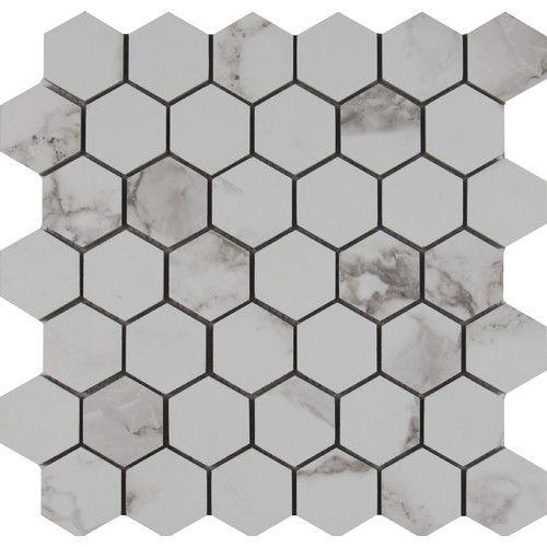 Statuario 2 X Porcelain Mosaic Tile