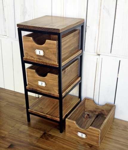 Mueble cajonera de madera y hierro mueble cajonera for Diseno de muebles de hierro