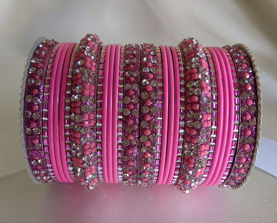 Pink Color Indian Traditional Bollywood Fashion Costume Metal Bangles Chudi Jewelry