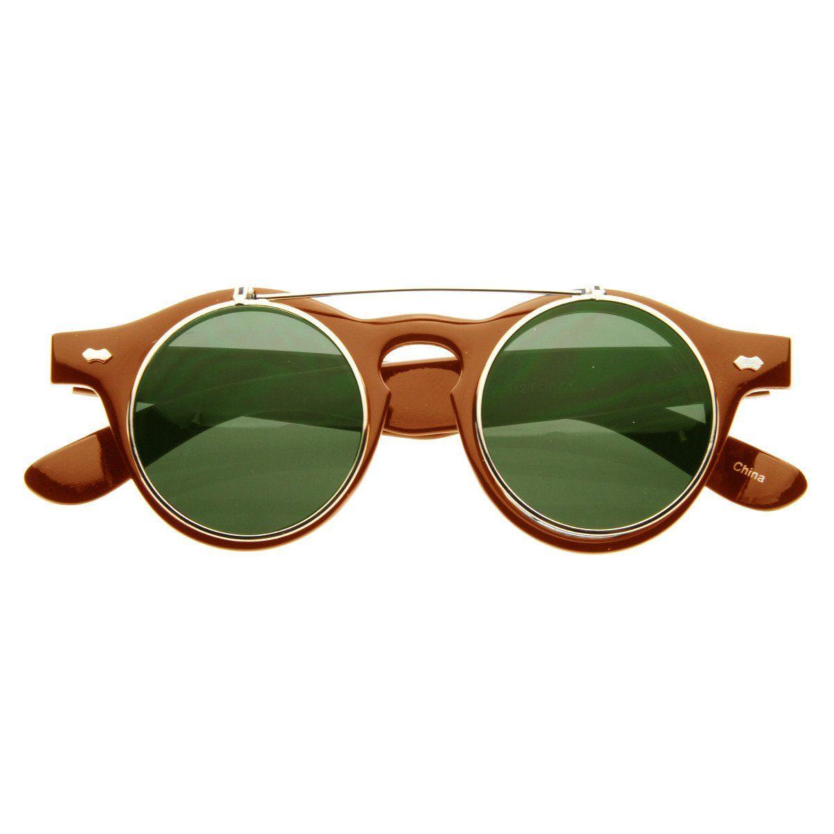 e00fbbe711f3a Small Retro Steampunk Circle Flip Up Glasses   Sunglasses Cabides, Lentes  Redondas, Óculos,