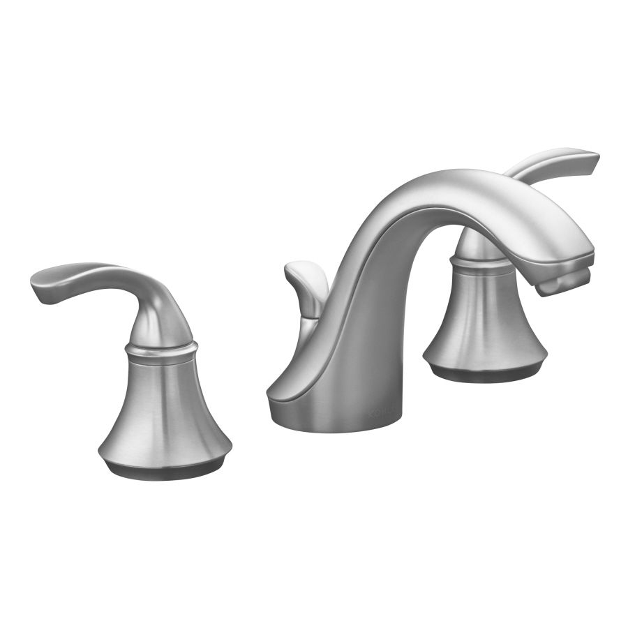 Kohler Forte Brushed Chrome 2 Handle Widespread Bathroom Faucet