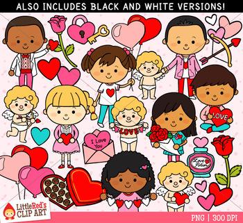 Valentine Kids Clipart Includes Blacklines By Little Red S Schoolhouse Kids Clipart Valentines For Kids Clip Art